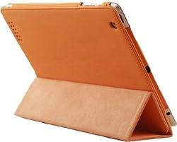 KolorFish iSmooth Rubberised Finish Leather Stand Book Case Cover for Apple iPad 2, iPad 3, iPad 4 (Orange)