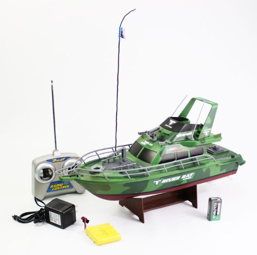 1:28 Scale (Army Green) Full Function 3-channel Radio Control Racing Boat Vessel Model W/ Rechargeable Batteries Remote Control Boat