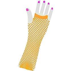 Women's Long 80s Style Orange Neon Fishnet Gloves