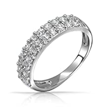 buy Bling Jewelry Pave Cz Double Row Half Eternity Band Ring Sterling Silver Size 8