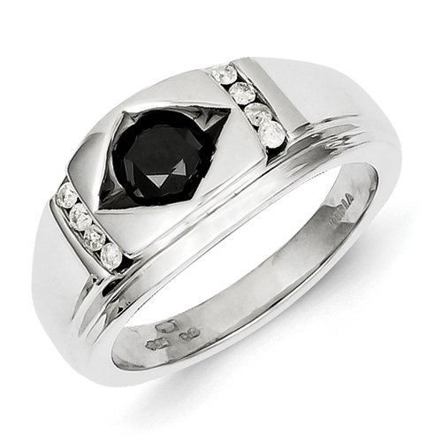 Sterling Silver Black and White Rough Diamond Mens Ring - Ring Size Options Range: R to V
