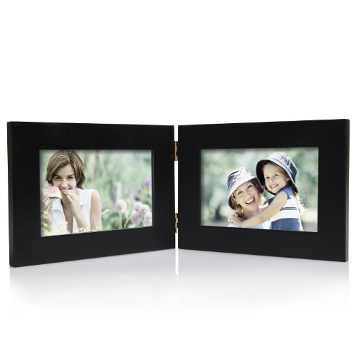 Adeco Decorative Wood Hinged Table Desk Top Picture Photo Frame, 4 by 6-Inch, 2 Openings, Black (Pet Pic Frame compare prices)