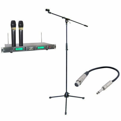 Pyle Mic And Stand Package - Pdwm2550 19'' Rack Mount Dual Vhf Wireless Rechargeable Handheld Microphone System - Pmks2 Tripod Microphone Stand W/Boom - Ppfmxlr01 12 Gauge 6 Inch 1/4'' To Xlr Female Cable