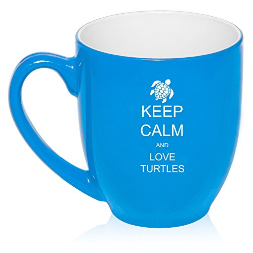 16 Oz Light Blue Large Bistro Mug Ceramic Coffee Tea Glass Cup Keep Calm And Love Turtles