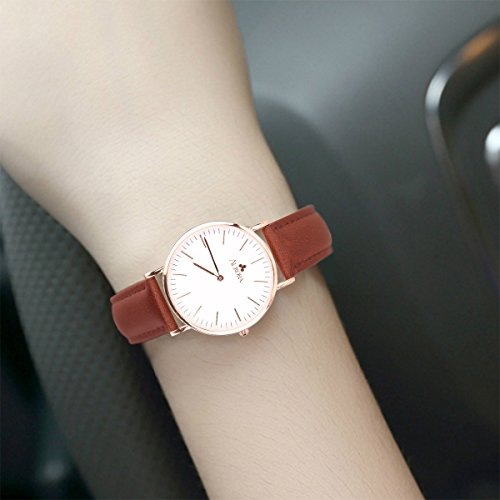 Aurora Women's Metal Retro Casual Round Dial Quartz Analog Wrist Watch with Brown Leather Band-Rose Gold 3
