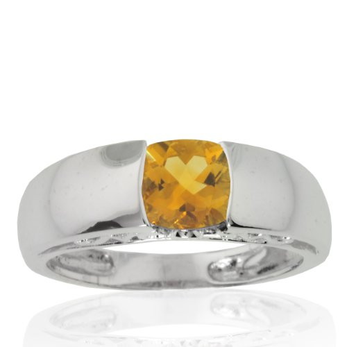 10k White Gold Citrine and Diamond Mom Ring (.01 cttw, I-J Color, I1 Clarity), Size 5