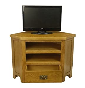 Buying Guide of  Tucan Rustic Oak Corner Tv Plasma Dvd Video Unit Stand / Solid Cabinet Furniture / Living Room