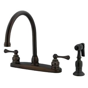 Kingston brass kb725blbs vintage gooseneck kitchen faucet for Kitchen faucet recommendations