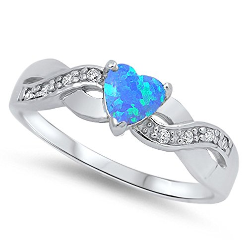 Heart Infinity Knot Blue Simulated Opal Promise Ring .925 Sterling Silver Size 9 (RNG15957-9)