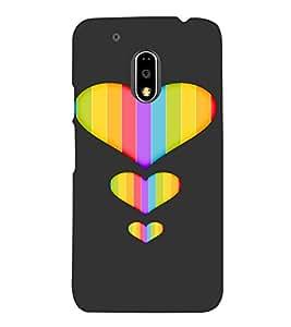 PrintVisa Colorful Heart Design 3D Hard Polycarbonate Designer Back Case Cover for Motorola Moto G4 PLAY