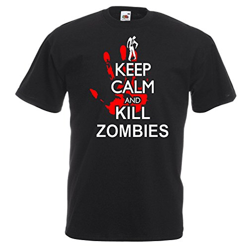 Keep Calm and Kill Zombies , t shirt, Cotton,100% Cotton, Men's, Women, Kids (S, Nero)