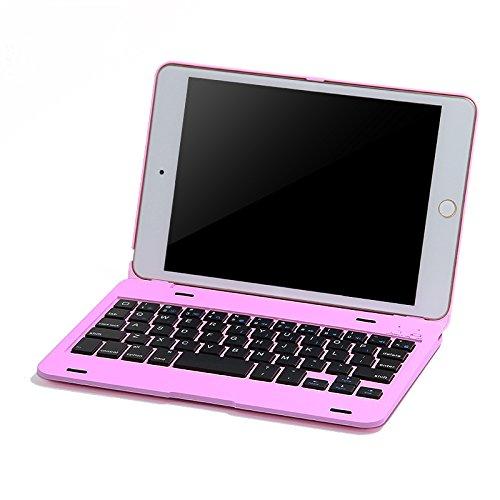 iPad mini4 ケース,IVSO®オリジナルiPad mini4 ケース,iPad mini4 専用 超薄型Bluetooth接続キーボード 内蔵アルミケース キーボード兼スタンド兼カバー - iPad mini4だけ 適用(ピンク)