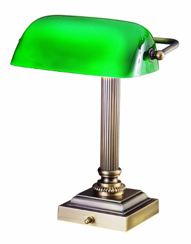 House of Troy DSK428-G71 Shelburne Collection 13-3/4-Inch Portable Desk Lamp, Antique Brass with Green Glass Shade