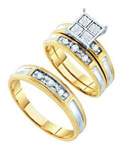 Pricegems 10K Yellow Gold Couples Round Brilliant Diamond Channel Set engagement Wedding 3 Piece Trio Set (1/4 cttw, H-I Color, I1/I2 Clarity, Ring Size: 5.25)