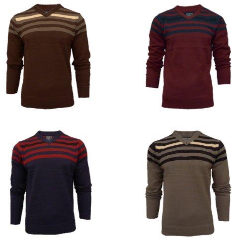 Mens Kensington 1A1087 Knitted Striped Jumper Sweater (XXL = 48