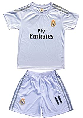 2015/2016 Real Madrid #11 Bale Kids Home Soccer Jersey & Shorts Youth Sizes