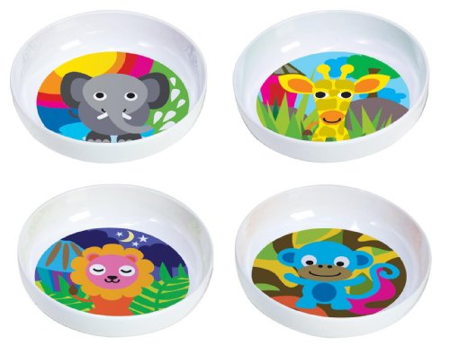 French Bull Kids 5 3/4 Inch Melamine Bowl Set Of 4, Jungle