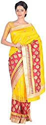 Sree Howrah Stores Women's Silk Saree with Blouse Piece (Yellow)