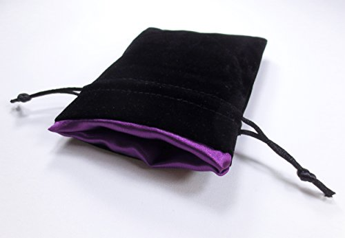 4x5 Royal Purple Premium Black Velvet Dice Bag with Strong Purple Satin Lining (Dice Bag Capacity is 5 Sets / 35 Dice)