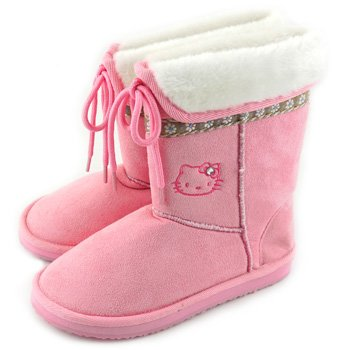 Hello Kitty Boots: Pink Suede/Flowers(Women Size: 2)