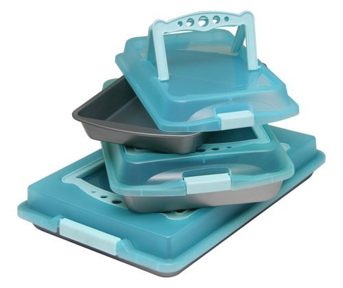 OvenStuff Non-Stick Six Piece Covered with Handles Bakeware Set - Blue
