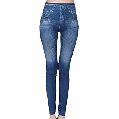 Faux Denim High Waist Pencil Pant Women Skinny Legs Pocket Slim Leggings Guetres