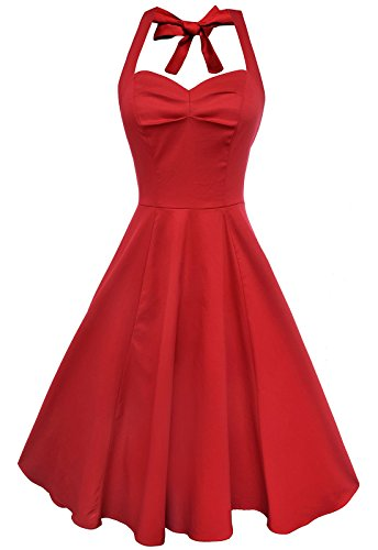 Anni Coco Women's Marilyn Monroe 1950s Vintage Halter Swing Tea Dresses Red X-Large
