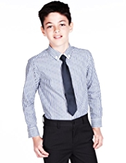 Autograph Pure Cotton Striped Shirt & Tie Set