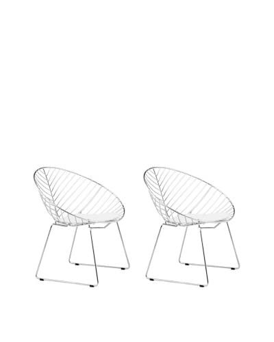 Zuo Modern Set of 2 Whitworth Chairs, Chrome