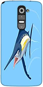 Snoogg Blue Marlin Fish Jumping Retro Designer Protective Back Case Cover For LG G2