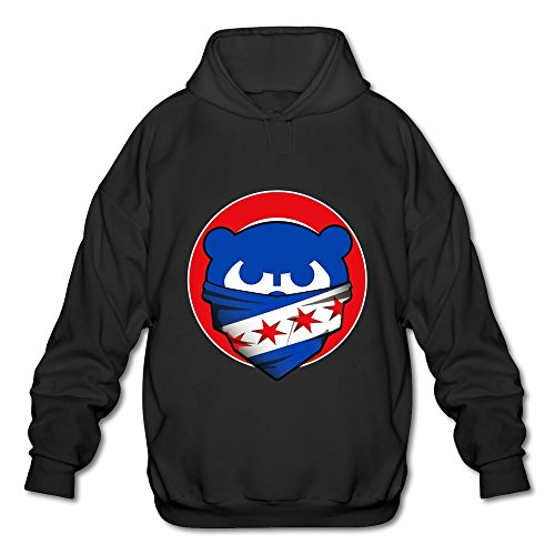 LQYG Men's Long Sleeve Hoodie - Chicago Cubs-chicago Flag Black Size XXL