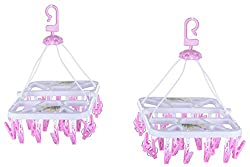 RIVER Plastic Folding Hanging Stand with 28 Clips, 2 Pieces