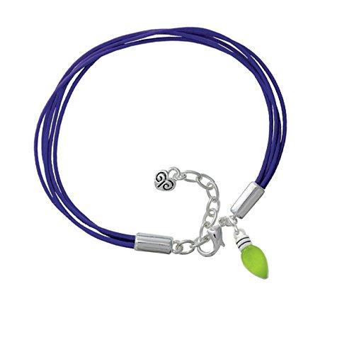 Christmas Lights - Lime Green Resin Purple Leather Aruba Bracelet