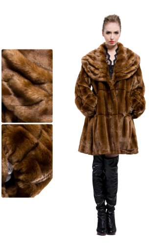 Messca Women's Faux Mink Fur with Lotus Leaf Collar Middle Coat Size L Brown