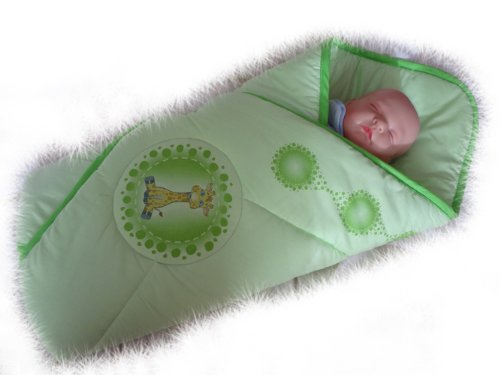 Blueberry Shop Newborn Baby Swaddle Wrap Blanket Duvet Sleeping Bag Snuggle Wrap Green Giraffe - 1