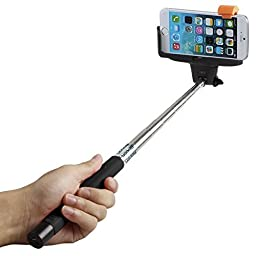 Selfie Stick, FlexionTM QuickSnap Pro 3-In-1 Self-portrait Monopod Extendable Wireless Bluetooth Selfie Stick with built-in Bluetooth Remote Shutter