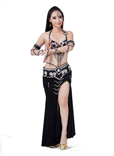 Dreamspell Sexy Black Belly Dance Set 3pcs Shining Bra Wiast Chain Skirt