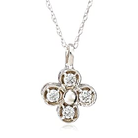 "14k White or Yellow Gold 4-Stone Diamond Floral Pendant (.11 cttw, J Color, I2 Clarity), 18"" from amazon.com"