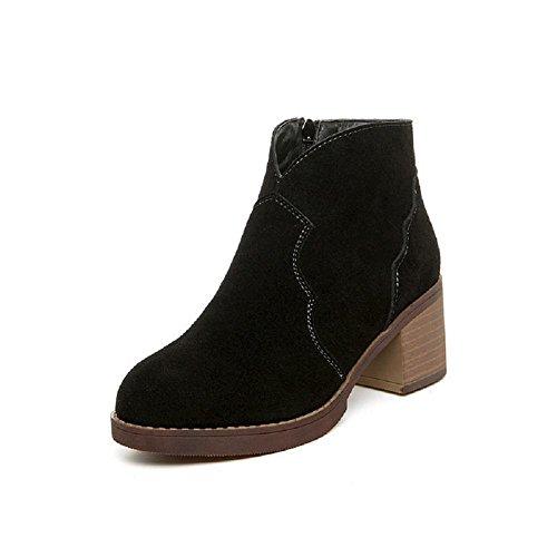 YYH Inverno scarpe da donna stivali Martin British style Genuine Leather alto - stivali con tacco lato cerniera più velluto aumentato nudo alto tacco stivali , black , 35