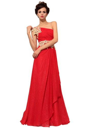 CharliesBridal One Shoulder Floor Length Formal Dress - XL - Red