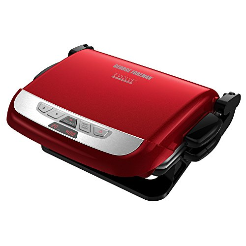 George Foreman GRP4800R 4-in-1 Multi-Plate Evolve Grill, Electric Grill, (Panini Press, Grilling, Baking, and Cupcake Plates Included), Red (George Foreman Pan compare prices)