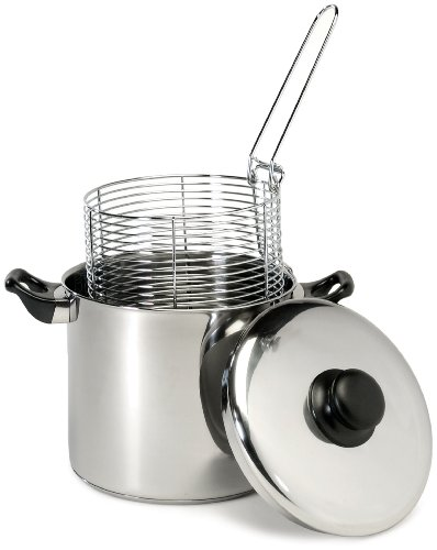Excelsteel 6 Quart Stainless Steel Stove Top Deep Fryer (Deep Frying Pot compare prices)