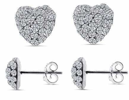 SWAROVSKI CRYSTAL 925 Silver Stud Earrings Heart