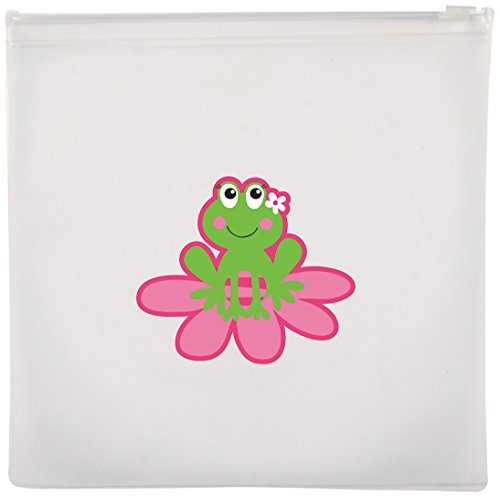 Stephen Joseph Girl Frog Reusable Snack Bags, Clear