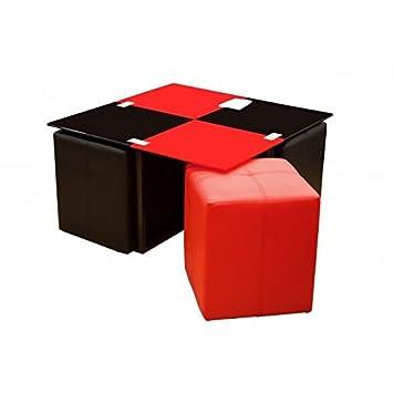 Table basse neva 4 poufs rouge et noir cuisine - Table basse rouge et noir ...