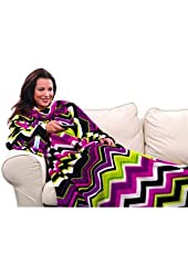 Snuggie with Chevron Stripes Microplush Blanket with Sleeves