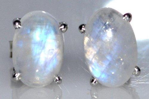 Rhodium plated Sterling Silver Rainbow Moonstone stud Earrings Natural Gemstone Earring