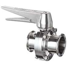 "Dixon B5101V200CC-C Stainless Steel 316L Butterfly Valve with Trigger Handle and Viton Seal, 2"" Tube OD"