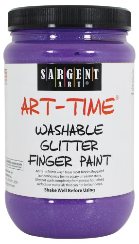 Sargent Art 22-9242 16-Ounce Art Time Washable Glitter Finger Paint, Violet - 1
