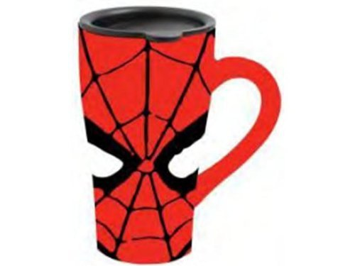 Silver Buffalo Marvel Comics Spider-Man Eyes Ceramic Travel Mug With Friction Lid, 18 Ounces, Multicolored (Mc7088)